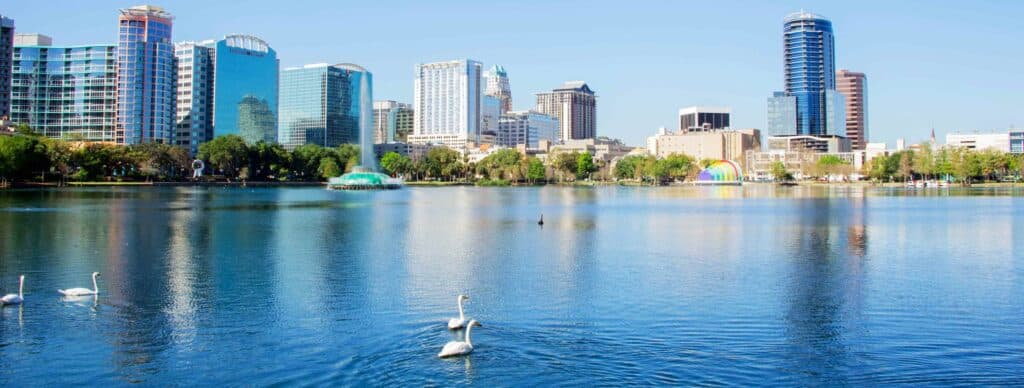 Lake Eola with swans